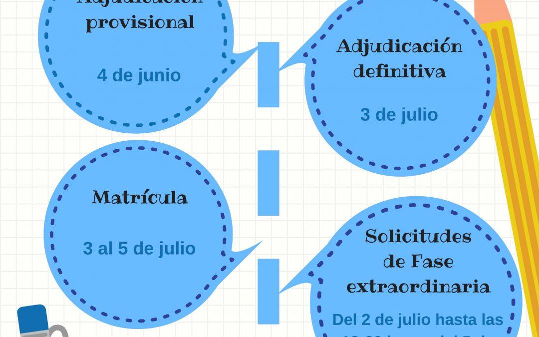 Modificación fechas calendario de admisión de alumnos de ESO y Bachillerato: Admisión y Matricula
